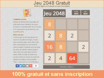 Jeu 2048 gratuit en ligne sans inscription, 2048 gratuit en Francais